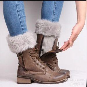 Gray Faux Fur Boot Cuffs